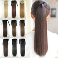 55cm Long Straight Hair Pieces Drawstring Ribbon Hairpiece Clip In Pony Tail Hair Extensions Fake Hair Ponytail