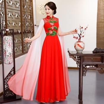 Red Wedding Party Cheongsam Oriental Evening Dress Chinese Traditional Womens Elegant Qipao Sexy Long Robe Retro Vestido S-XXL