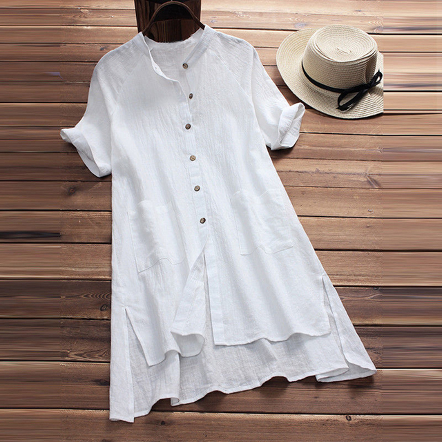 82d092ecea0 Vintage Women Button Linen Cotton Blouse Tunic Tops Short Sleeve Long Tunic  Top White Ladies Office Shirts Tee Plus Size 4XL