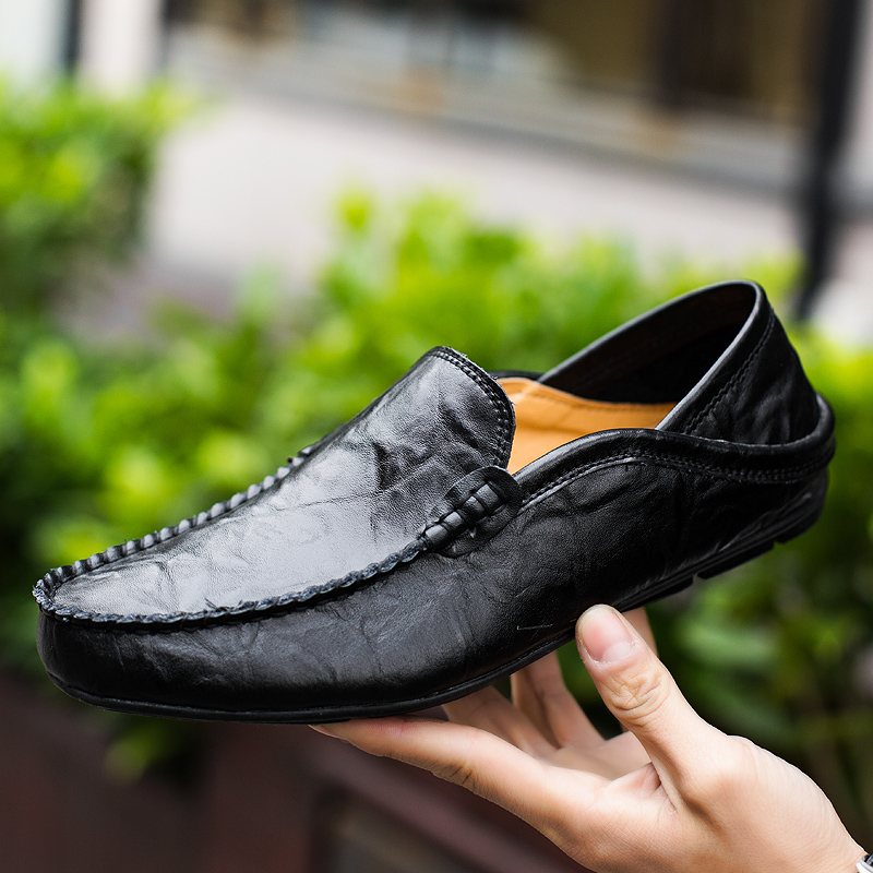 2019 Men Casual Shoes Genuine Leather Loafers Outdoor Breathable Casual Sneakers Flats Driving Shoes Slip On Big Size Men 46