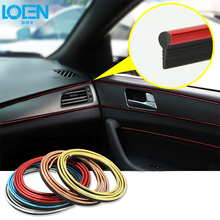 5M Car Interior Mouldings Trim Strip Sticker Car Center Console Decoration Door Auto 3D Internal Accessories Brand Car-Styling 5m car styling brand stickers and decals interior decorative 3d thread stickers decoration strip on car accessories