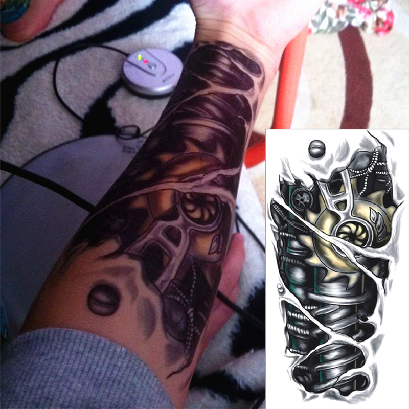Robot Machine Arm Temporary Body Art Flash Tattoo Stickers 12 20cm Waterproof Tatto Henna Tatoo Summer