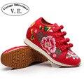 Sapatos Bordados do vintage Chinês Old BeiJing solteiros Turismo bordado Floral andar de dança sapatos de lona tamanho 34-40