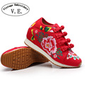 Vintage Embroidery Shoes Chinese Old BeiJing Tourism embroidered Floral singles walk dance canvas shoes size 34-40