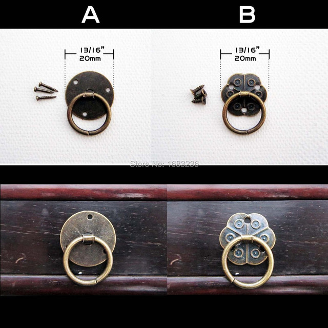 12pcs Antique Brass Decorative Mini Jewelry Chest Box Cabinet Dresser Drawer Pull Knob Door Handle Ring with Screw Nail
