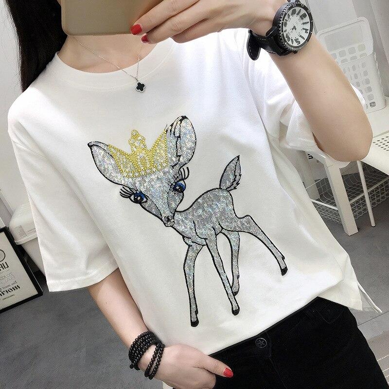 Neue sommer brief tier druck Koreanischen short-hülse frauen T-shirt lose günstige kleidung t-shirt vestidos LP06