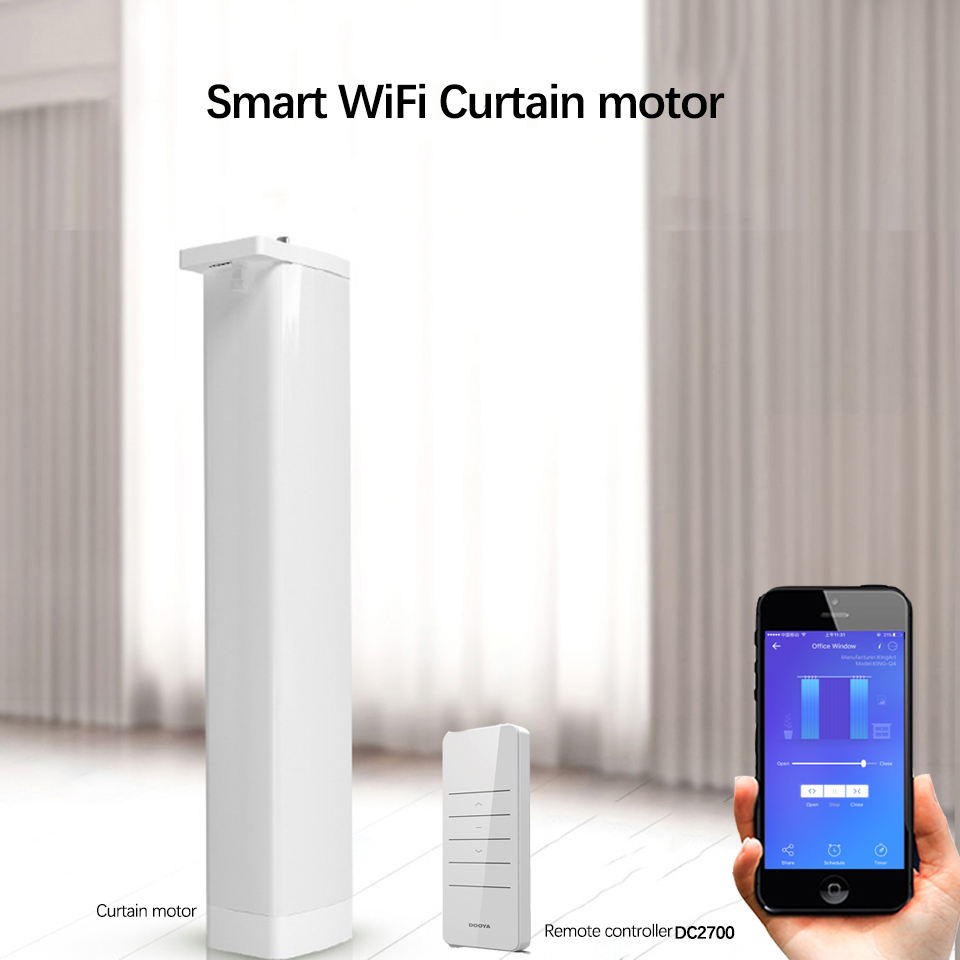 Wifi Smart Electric Curtain Motor Dooya 433MHZ DC2700 Remote Controller Works