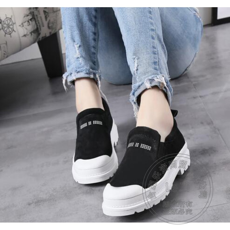 ФОТО Women Loafers High Street Suede 2016 Deep Mouth Thickness Bottom Lazy Shoes Antiskid Slip On Shoes For Women Bead Scrub Leather