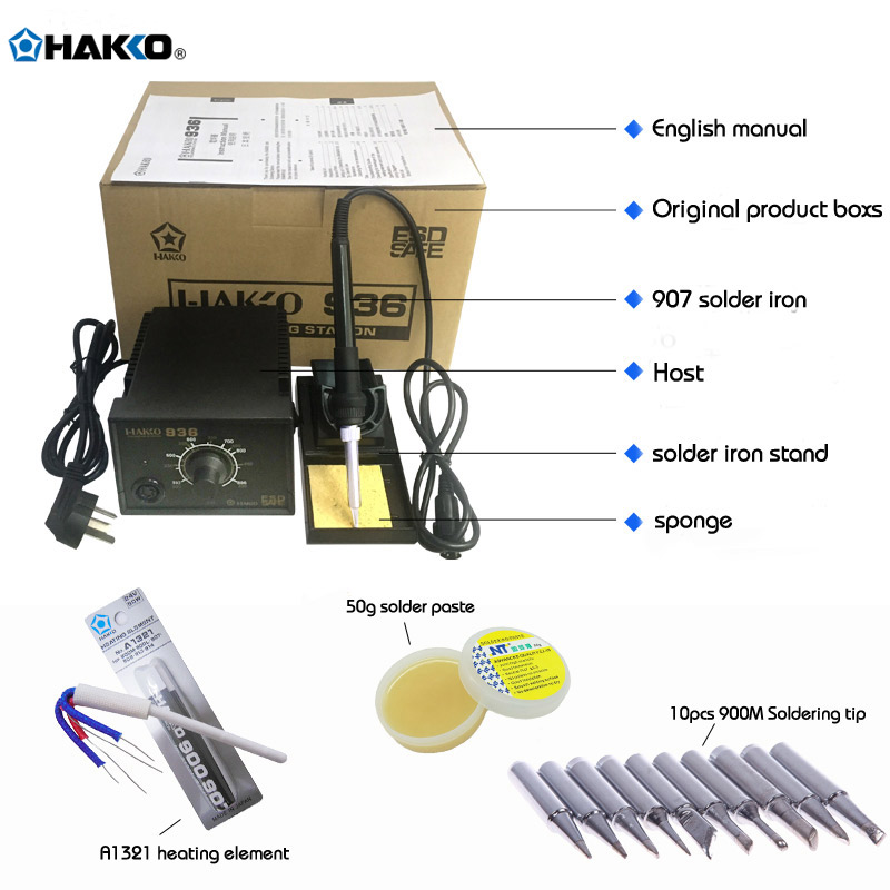 110/220V US/EU Plug HAKKO 936 Soldering Station 907 soldering handle + 10pcs 900M Solder Tips +A1321 heat element dhl free shipping hot sale 220v hakko fx 888 fx888 888 solder soldering iron station with 10 free tips 900m t