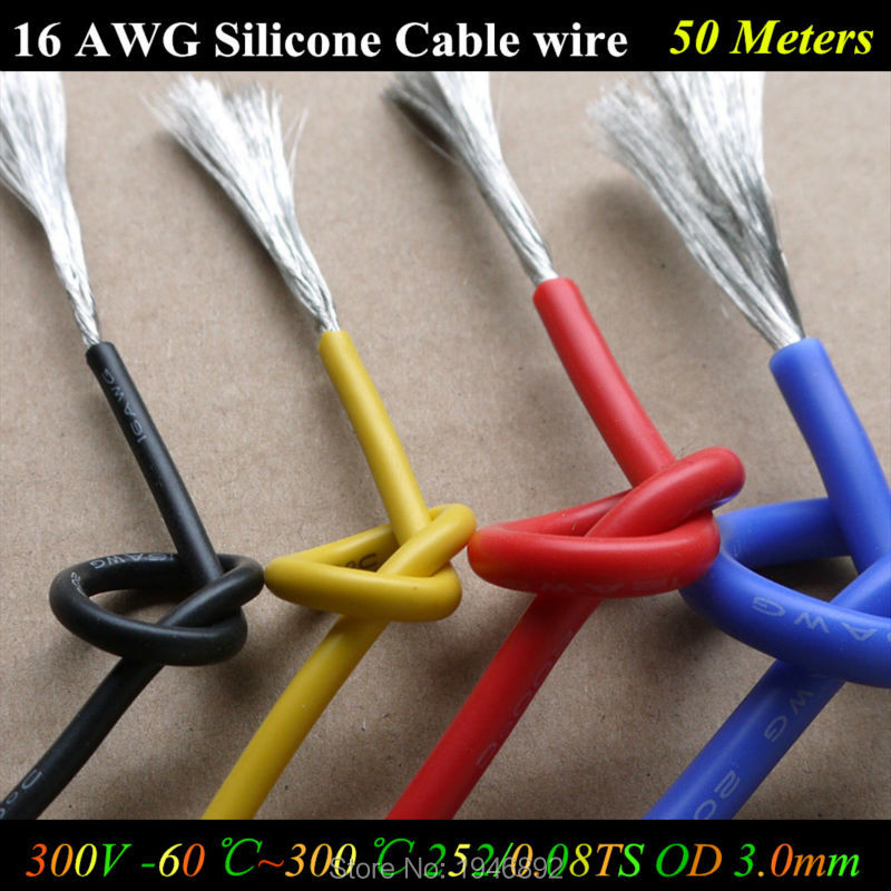 50 Meters 16 <font><b>AWG</b></font> Flexible Silicone <font><b>Wire</b></font> RC Cable 16AWG 252/0.08TS OD 3.0mm Tinned Copper <font><b>Wire</b></font> 1.27mm Square Model airplane <font><b>Wire</b></font> image