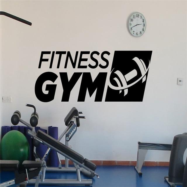 Fitness gym logo wall decal sports dumbbell vinyl sticker art decor
