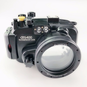 Meikon a6400 130ft/40m Waterproof Underwater Camera Housing case for Sony a6400 Camera,support 16-50mm lens With Fisheye