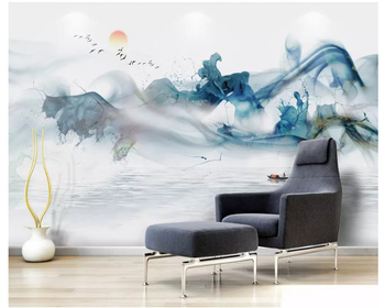 beibehang New Chinese personality wall paper Zen abstract ink landscape artistic three-dimensional line mural wallpaper