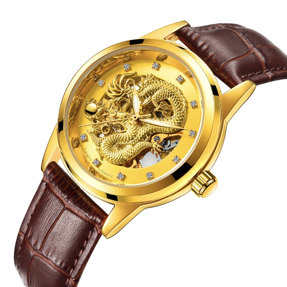 Genuine Leather Band Watches Men Automatic Watch Skeleton Mechanical Watch Hollow Out Back Dragon Dial Dragon Watch Luxury Brand hollow out dial male automatic mechanical movt watch leather band