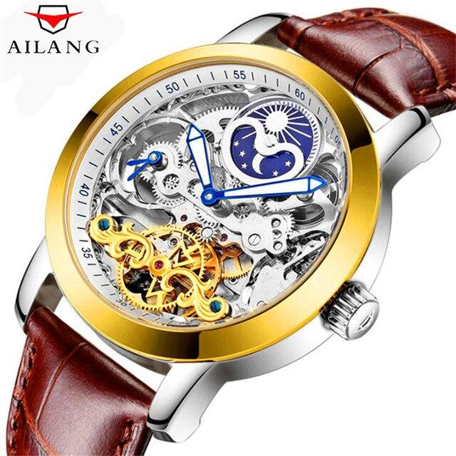 76ac6c1d226 AILANG Marca Design Clássico de Couro Dos Homens de Negócios de Luxo Relógio  Esqueleto Mecânico Automático