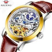 AILANG Marke Luxus Geschäfts herren Leder Klassische Design Tourbillon Uhr Skeleton Automatische Mechanische Uhren Männer Wasserdicht