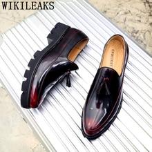 Итальянская Свадебная обувь; мужские деловые лоферы; Мужские модельные туфли; кожаная брендовая Классическая обувь; Мужские Элегантные слипоны; sepatu pria