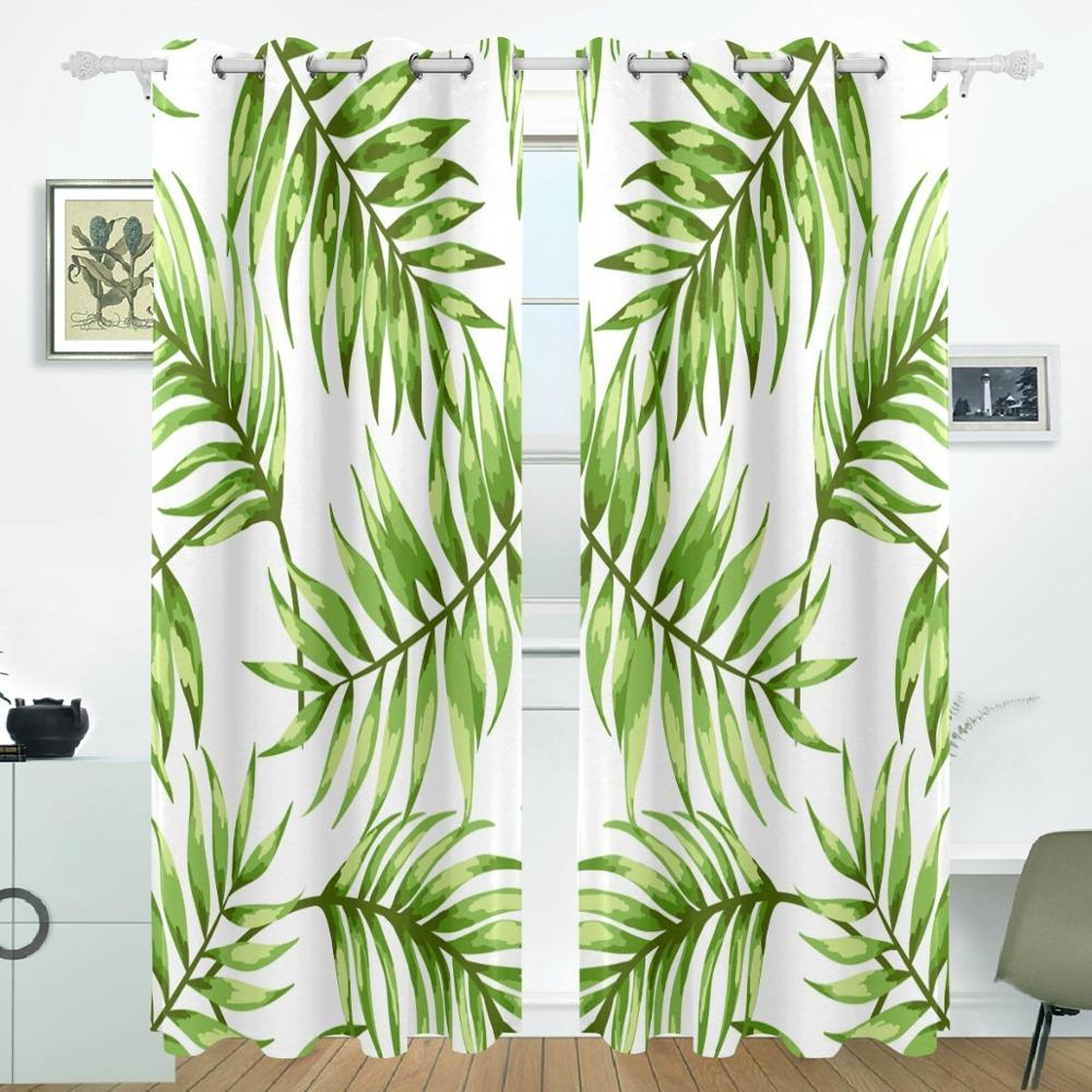 Tropical Leaves Curtains Drapes Panels Darkening Blackout Grommet Room Divider for Patio Window Sliding Glass Door 55x84 InchesTropical Leaves Curtains Drapes Panels Darkening Blackout Grommet Room Divider for Patio Window Sliding Glass Door 55x84 Inches