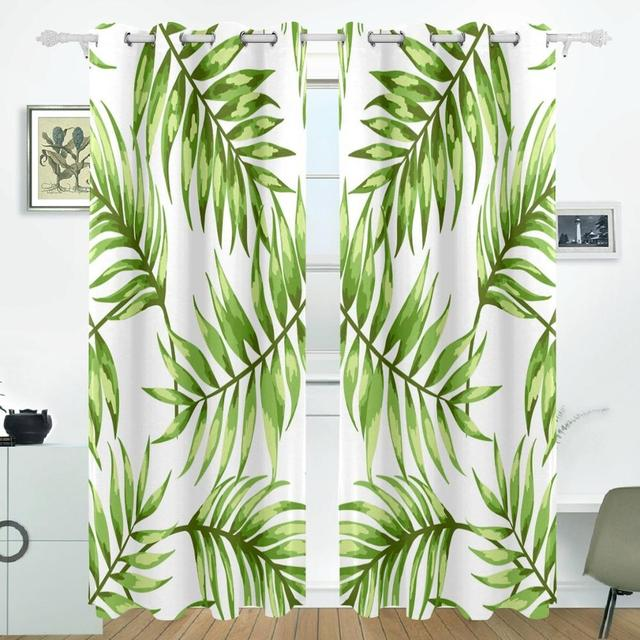 Aliexpress buy tropical leaves curtains drapes panels tropical leaves curtains drapes panels darkening blackout grommet room divider for patio window sliding glass door planetlyrics Gallery
