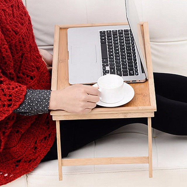 Light Wooden Bamboo Bed Tray Breakfast Laptop Desk Tea Serving Table Stand  New Laptop Stand Holder