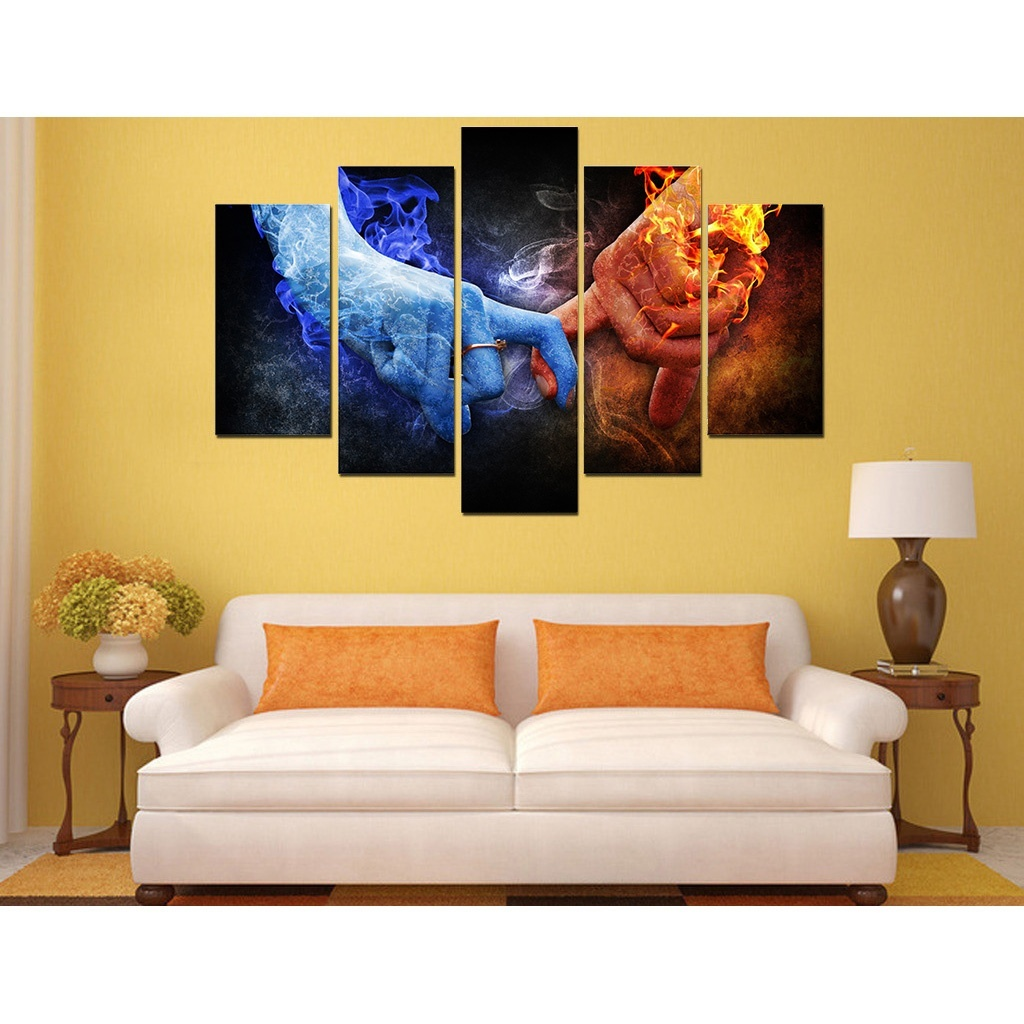 Free shipping Hot Frameless painting romantic lover hands canvas ...