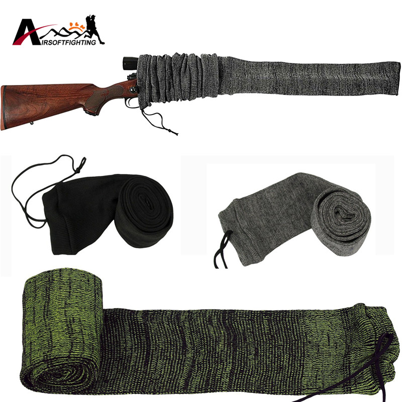 Silicone Treated Rifle Gun Sock Case 54 Oversized Knit Protection Sock for Gun w Large Scope Tactical Hunting Gun Accessory