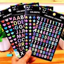 SL-JH colorful digital alphabet crystal glue stickers cute diary album small hand account DIY