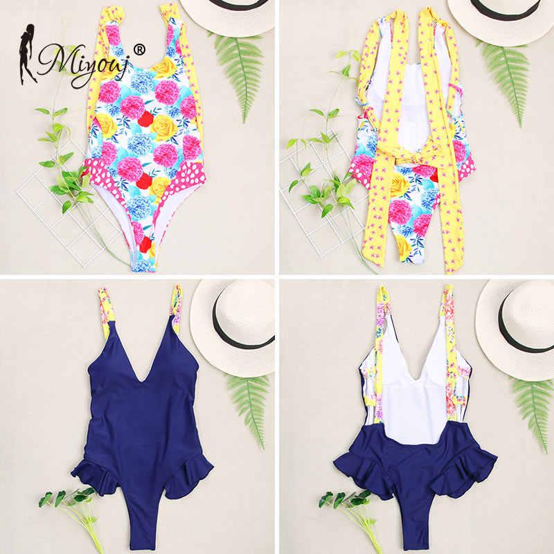 Miyouj wysokiej jednoczęściowy strój kąpielowy kobiet potargane Bikini Push Up stroje kąpielowe damskie kostium kąpielowy Biquinis Feminino 2018 Mujer do kąpieli