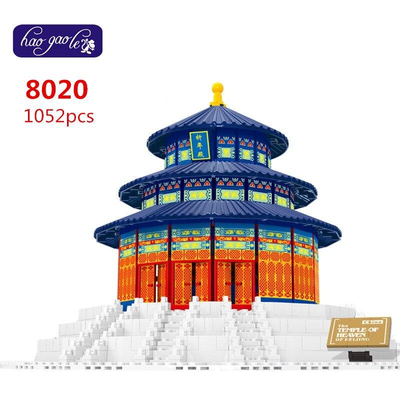 Free Shipping WanGe 8020 Tample of Heaven 3D DIY 1052PCS largeBricks blocks Building sets educational block toys eye of heaven