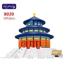 Free Shipping WanGe 8020 Tample of Heaven 3D DIY 1052PCS largeBricks blocks Building sets educational block toys