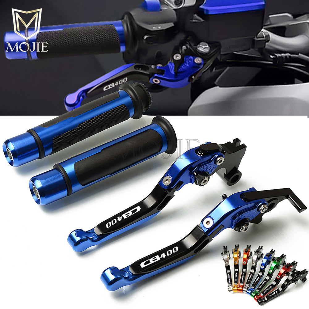 Motorcycle CNC Adjustable Brake Clutch Levers CB 400F Handle Grips Handlebars Set For Honda CB 1