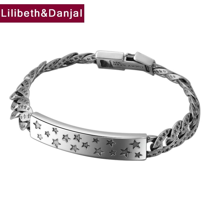 Hippop Street Culture Lucky Star Letter Couple Bracelet Bangle 100% 925 Sterling Silver Jewelry Men Women Designer Bracelet B67