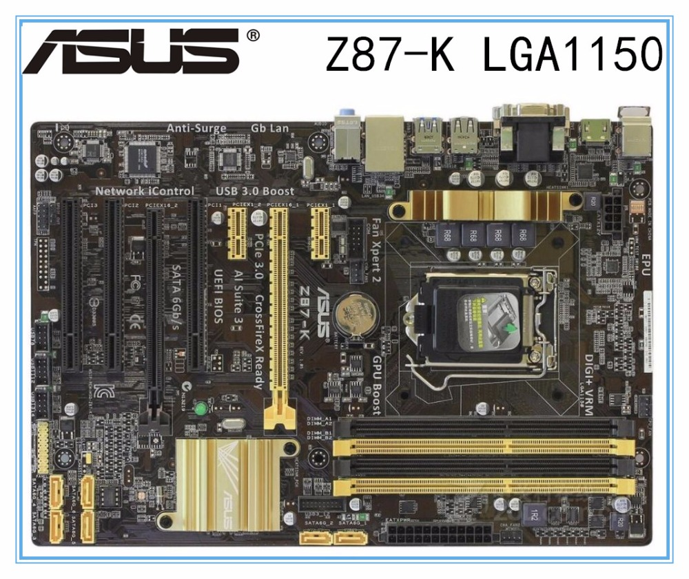 Desktop Motherboard Asus Z87-K  Z87 Socket LGA 1150 I7 I5 I3 DDR3 32G SATA3 USB3.0 ATX Mainboard PC