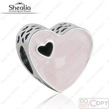 Fit Pandora Pulsera Del Encanto Esmalte Dulce Corazón Del Amor Gotea Original 925-Sterling-Silver Calado Rosa Corazón JOYERÍA SHEALIA BD339