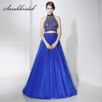 Amazing Royal Blue Two Pieces Long Evening Dresses 2017 Shining Beaded Rhinestone Tulle Halter Backless Formal Gala Party Gowns
