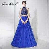 Incroyable Bleu Royal Deux Pièces Longues Robes De Soirée 2017 Brillant Perlé Strass Tulle Halter Dos Nu Formelle Soirée de gala Robes