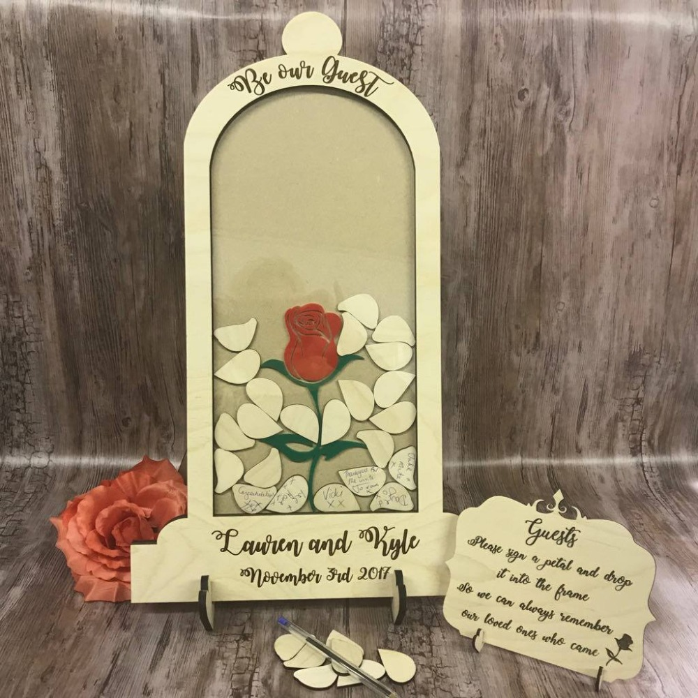 personalize wood Beauty and the Beast Wedding drop box tops alternative guest book Dome Jar birthday guestbook petals wishes box letra g bem bonita