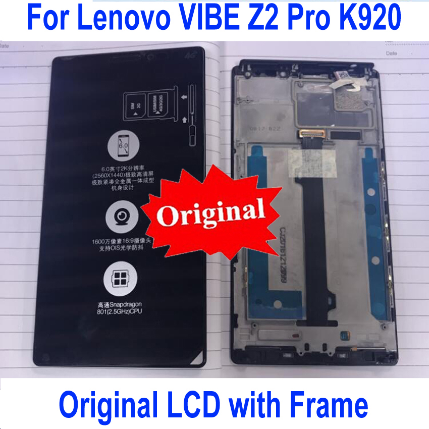 Original Best Working K920 LCD Sensor Touch Screen Digitizer Assembly with Frame For Lenovo Vibe Z2