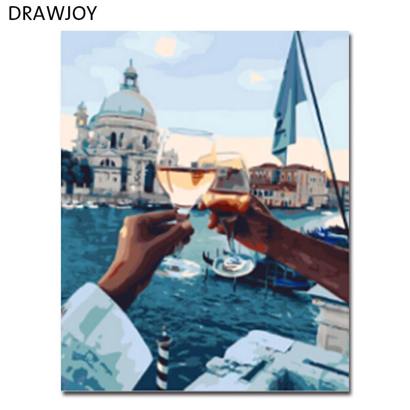 DRAWJOY Framed Wall Art Pictures DIY Oil Painting By Numbers Painting&Calligraphy Modern Landscape Home Decor GX21611 40*50cm