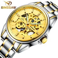 BINSSAW New Original Luxury Brand Stainless Steel Fashion Men S Clock Automatic Mechanical Waterproof Sports Watch