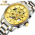 Binssaw original marca de luxo da forma do aço inoxidável homens relógio mecânico automático skeleton negócios à prova d' água relógio esportivo