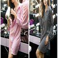 Nueva Sexy Secret Mujeres Albornoz Rosa Suave Deslizamiento de Seda Túnica de Raso De Partido Pijama Feminino Caliente Vestido de Noche Mostrar Sleepgown