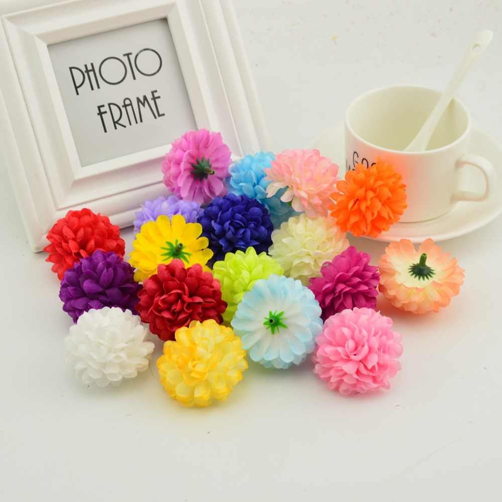 5cm 20pcs Multi-layer Silk Chrysanthemum Heads Artificial Flowers Cheap For Home Wedding Decoration Diy Wreath Bride Bouquet