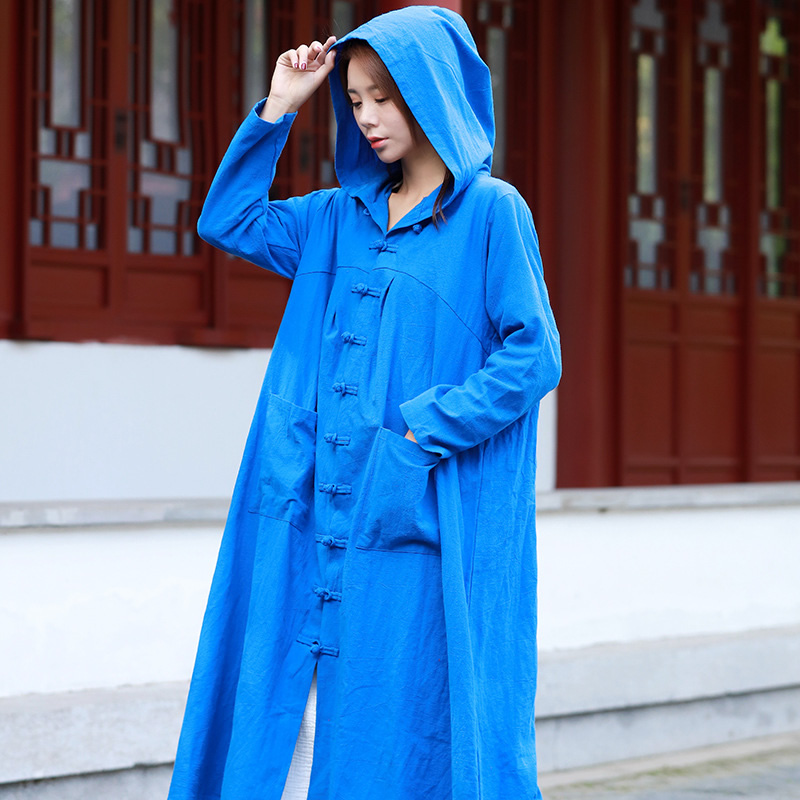 ORIGOODS Chinese style Hooded Long   Trench   Coat Women Witch Wizard Robe Hooded Coat Plus size Women Autumn 2018   Trench   Coat C182