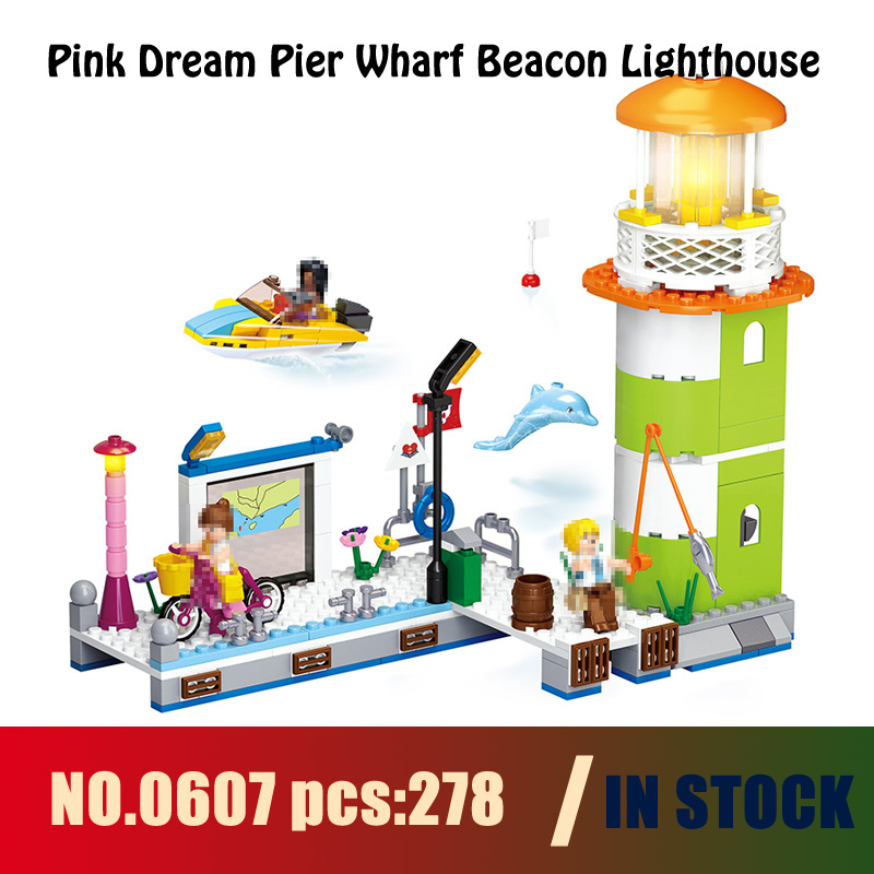 Models building 0607 278pcs Friend Pink Dream Pier Wharf Beacon Lighthouse Building Blocks Compatible with lego toys & hobbies