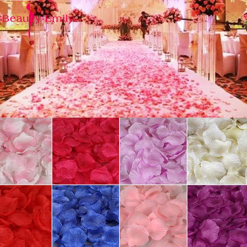 Beauty-Emily 2000 Pieces Wedding Silk Rose Petals Bridal Flowergirl Fake Flower Angel Tree Maphia Rose 2000pcs Silk Rose Petals