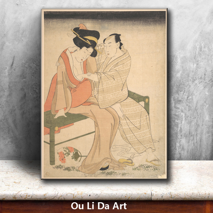 classical Japan kimono women wooden house oil painting canvas ...