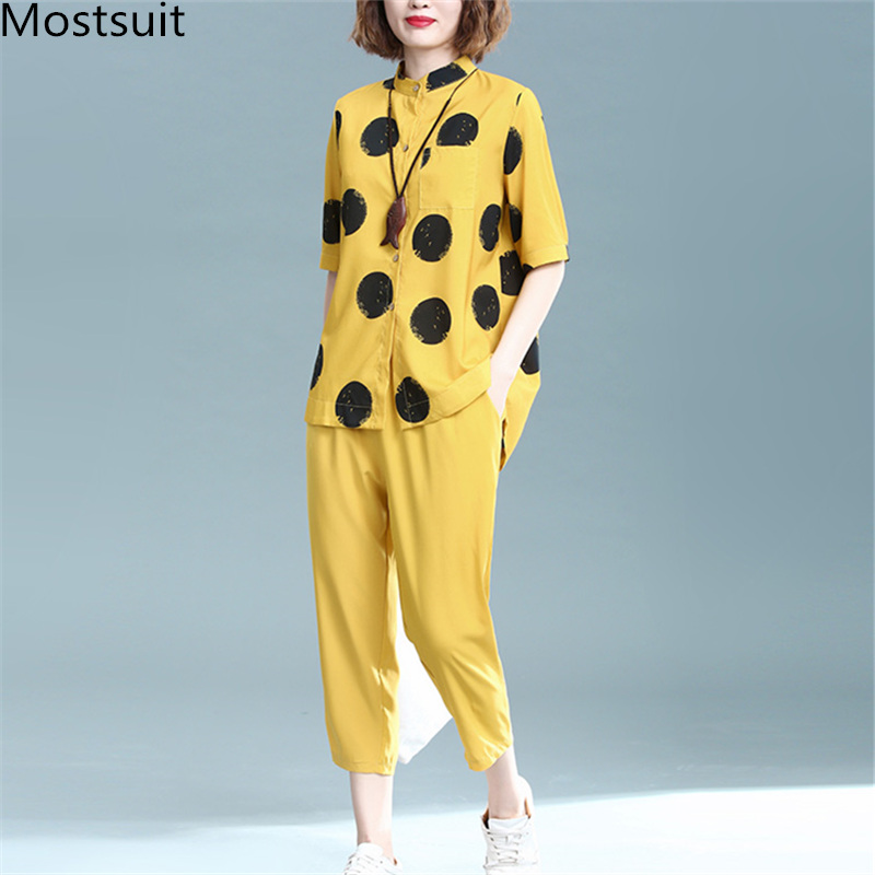 2019 Summer Cotton Linen Two Piece Sets Outfits Women Plus Size Dot Print Shirts And Pants Suits Casual Vintage 2 Piece Sets 25