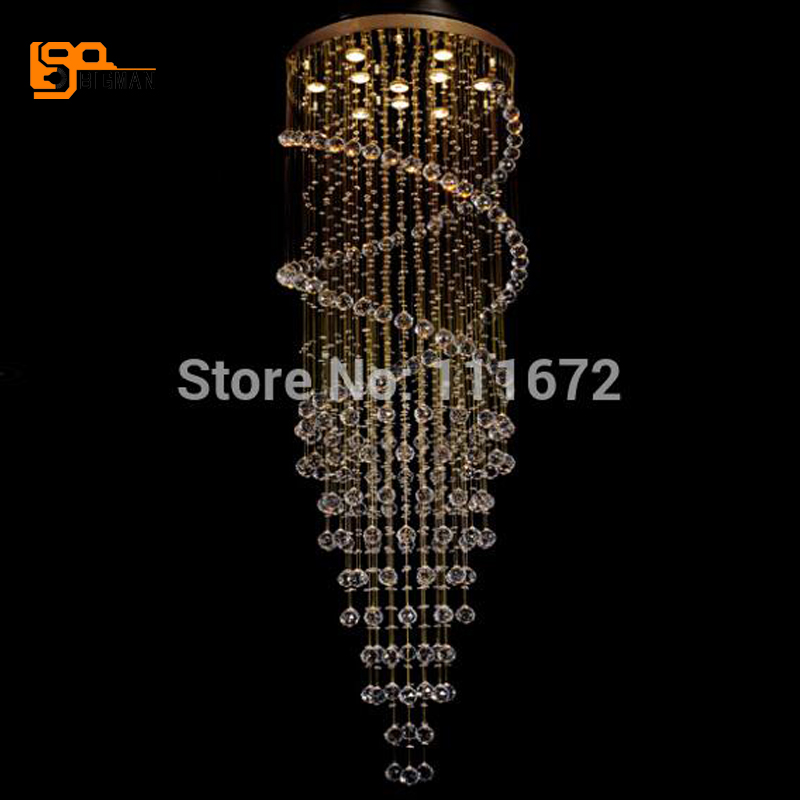 modern string crystal chandeliers LED lamp chrome staircase lighting ...