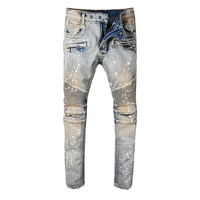 New arrive 2018 High quality Mens Oil Painted Pants Tassel Opening Blue Biker Jeans Slim Shorts Jeans Size 29-42